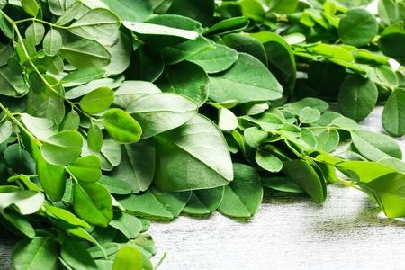 Fresh Moringa leaves  Drumstick leaves  Medicinal plants, selective focus