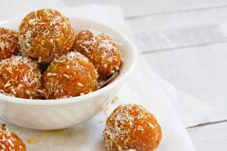 Carrot Halwa Laddu - Carrot coconut sweet balls, selective ocus