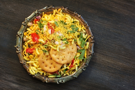 Bhel Puri  Indian Masala Chaat - Popular Mumbai street food top down view