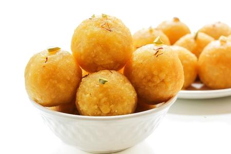 Diwali sweet Laddu  or motichoor ladoo isolated on white, selective focus