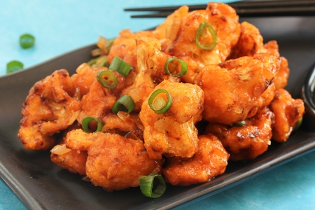 indo: Gobi Manchurian  Indo Chinese Appetizer made with cauliflower florets, selective focus