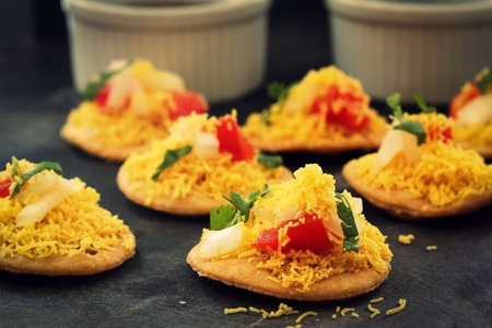 sev: Sev Btata Puri  Diwali snacks - Popular Indian street food, selective focus