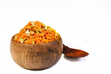 Carrot Halwa  Popular Indian sweet using carrots ghee and nus Banco de Imagens