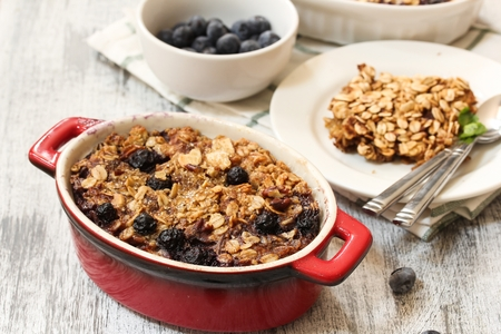 Baked Blueberry Oatmeal  - Healthy breakfast with Oatmeal and blueberries