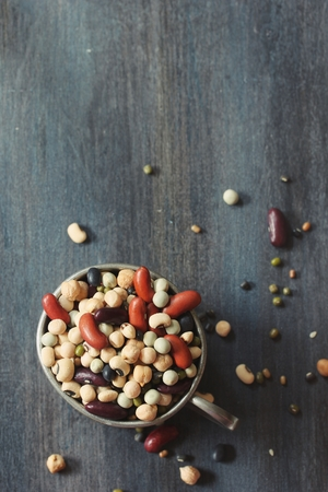 rajma: Soup mix  mixed Legumes - soup ingredients in a metal cup on dark moody background, selective focus