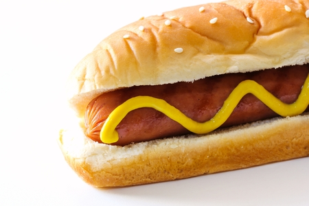 Hot dog isolated on white, selective focus