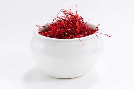 Saffron Threads isolated on white background, selective focus