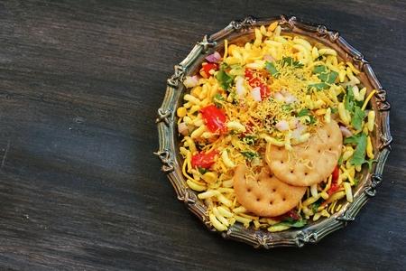 chaat: Bhel Puri  Indian Masala Chaat - Popular Mumbai street food top down view