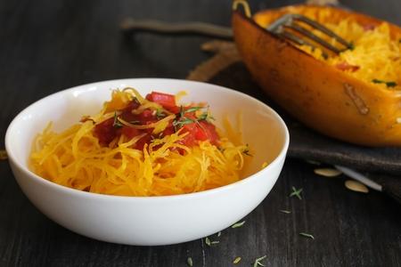 Pasta with Spaghetti squash  Spaghetti squash pasta served in a bowl, selective focus