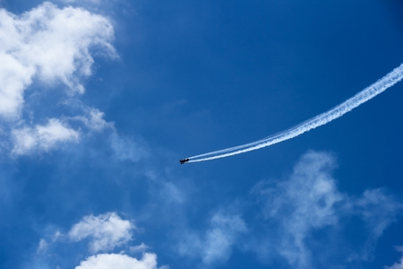 performed: Air show  performed above sea, selective focus Stock Photo