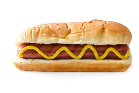 ketch: Hot dog isolated on white, selective focus