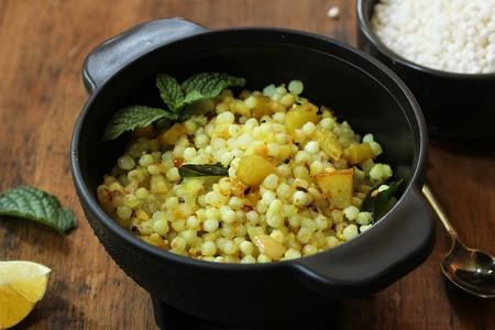 Sabudhana Khichdi  Spiced Tapioca pearls - Popular snack of India, Maharashtra