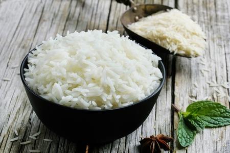 Bowl of cooked basmati rice    Basmati rice bowl, selective focus