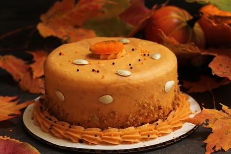 Pumpkin spice cake on Festive Autumn Background
