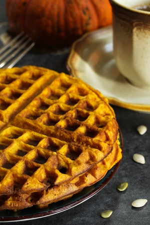 Pumpkin Waffles / Thanksgiving Breakfast Stockfoto