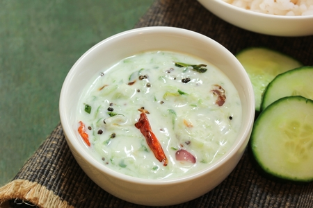 Cucumber Yogurt  Dip / Raita, selective focus Stock Photo - 87710851