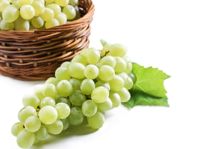 White Table Grapes isolated on white, selective focus