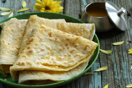 Puran Poli / Holige/ Obbattu - Indian sweet flatbread, selective focus