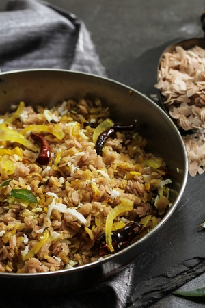 Brown Poha Upma  South Indian Breakfast
