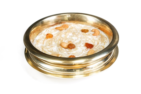 Homemade Semiya Kheer isolated on white, selective focus
