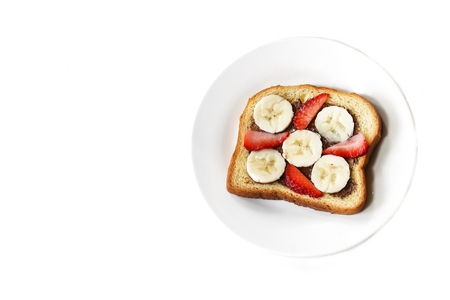 Strawberry banana breakfast Toast isolated on white Reklamní fotografie