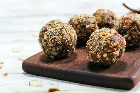 Date Nut Ladoo / Date Energy Protein Balls, selective focus