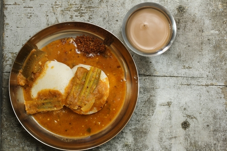Idli sambar - South Indian breakfast, top down view