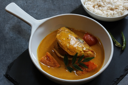 Fish head curry in coconut sauce
