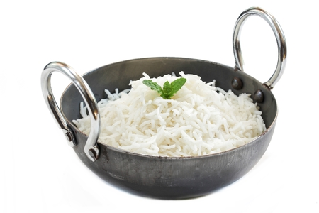 Indian Cooked Basmati Rice Served in a Kadai Banque d'images