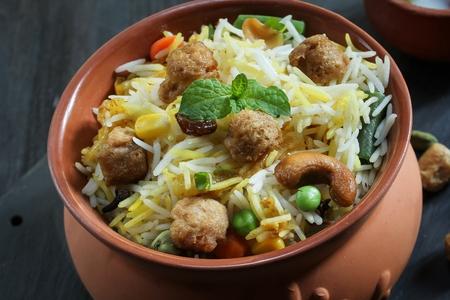 Soya chunks  Biryani / Vegetable Soy Pilaf served in clay pot