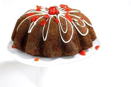 Chocolate Cherry Bundt Cake isolated on white