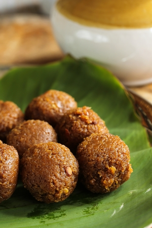 Coconut Jaggery Laddu  South Indian Sweets, selective focus Stock Photo