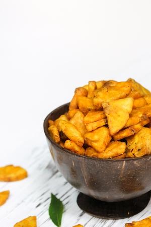 Cut banana Chips - Kerala snacks, selective focus Banque d'images
