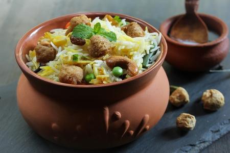 Soya chunks  Biryani  Vegetable Soy Pilaf served in clay pot