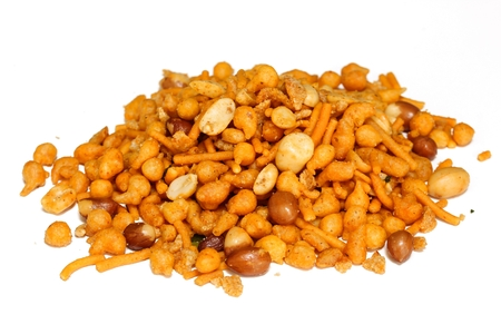 Mixture Isolated on white  Gluten free Indian Spicy snack mix