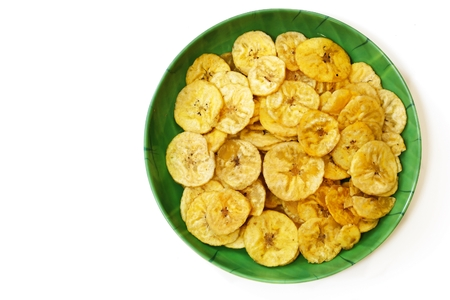 Plantain chips isolated on white