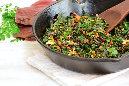're: Moringa red Spinach stir fry Cheera Drumstick leaves Thoran, selective focus