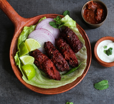 Seekh kabab - Pakistani spicy grilled ground meat skewers Stock Photo