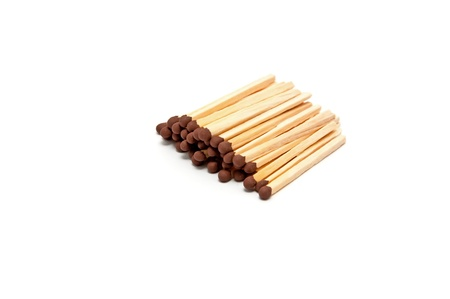 match head: Group of matches in a row on a white background