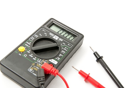 voltmeter: Electronic voltmeter on a white background Stock Photo