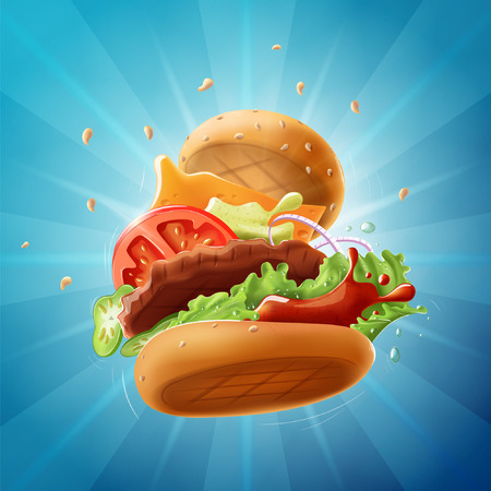 Epic Burger - a well-organized, fully editable vector illustration (EPS10). Simply turn off the background layer to use it as an isolated vector object. Banco de Imagens - 80167886