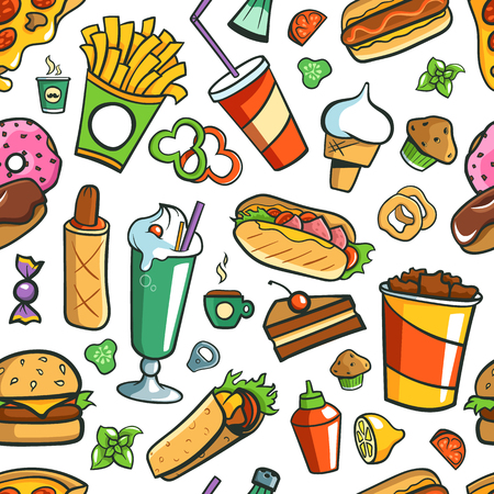 Tiled (Seamless) Background. Fast Food Drawings. Vettoriali