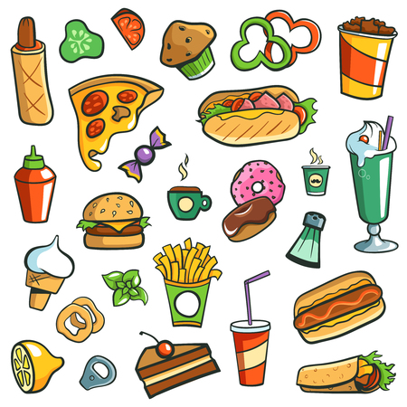 Fast Food Drawings White Background