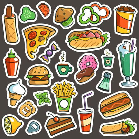 Fast Food Drawings Dark Background