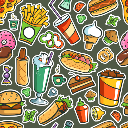 Tiled (Seamless) Background. Fast Food Drawings. Illustration