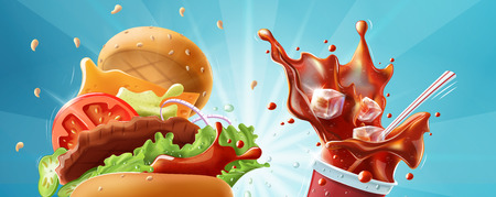Burger and soda - fast food header banner template