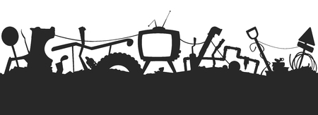 wasteland: Junkyard seamless silhouette vector pattern. EPS 10
