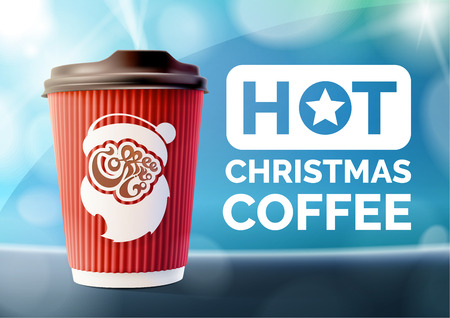 Christmas Coffee Banner Red Ripple Cup Vector
