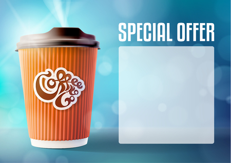 Coffee Banner Concept Blue Background. Vector EPS10