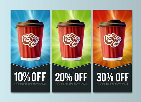 Koffie om te gaan korting Concept vector.
